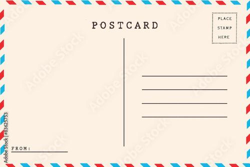 Fototapeta Back of airmail blank postcard obraz
