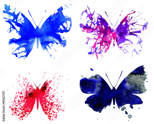 Foto op Plexiglas Vlinders in Grunge Watercolor Butterflies