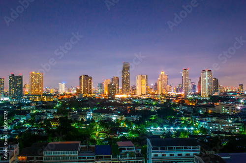 Poster Océanie Landscape Night view at the top view of Bangkok,