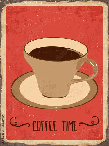 """Plakat na zamówienie Retro metal sign """" Coffee time"""""""