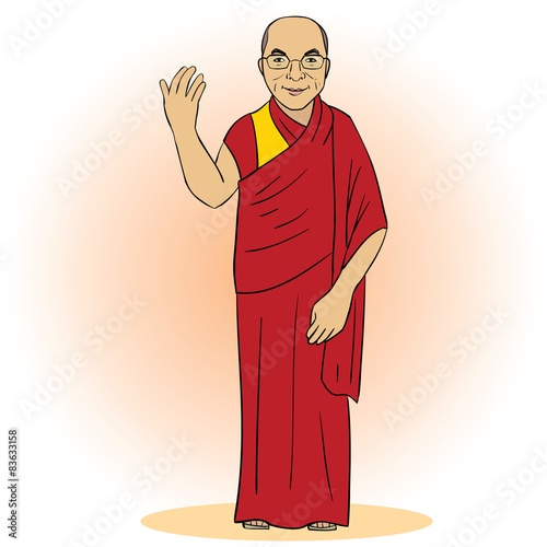 Cartoon figure of buddhist monk. Vector illustration Fototapeta