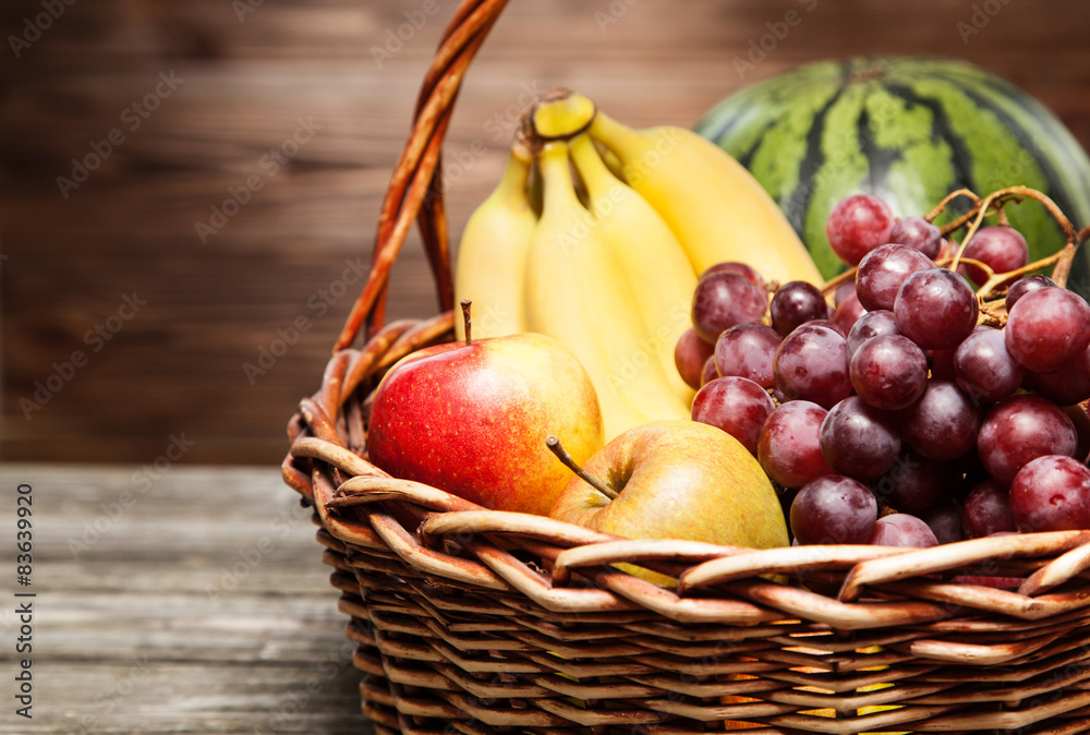 Basket full of fresh fruit