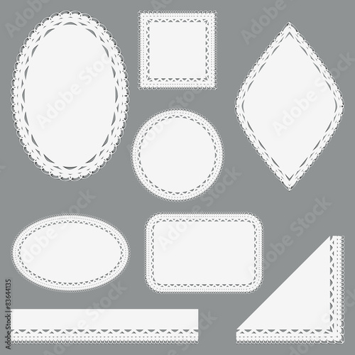 Fototapeta Set of lacy napkins, ribbons and corners. obraz