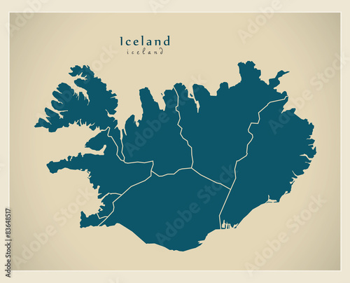 Photo Modern Map - Iceland with regions IS