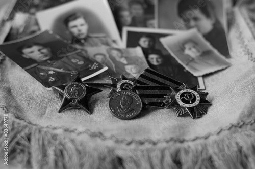 Photo  memory of awards and medals of World War II