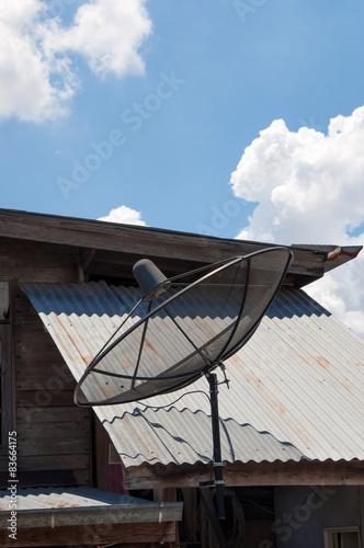 Canvas Prints Bridge Satellite dish and cloudy blue sky
