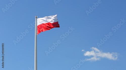 Obraz w ramie Polish flag waving in the wind