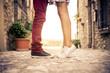 Leinwandbild Motiv Young couple kissing outdor