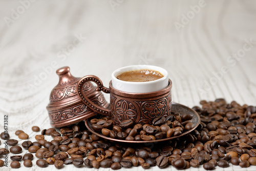 A traditional cup of turkish coffee.