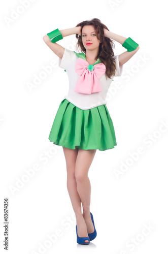 Fotografie, Obraz  Female model in cosplay costume isolated on white