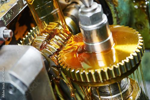 Fotografía  metalworking: gearwheel machining