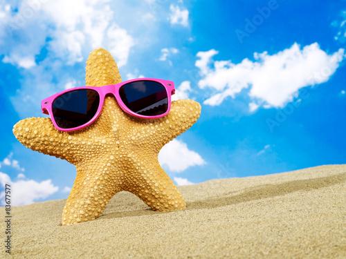 Photo Cool starfish with sunglasses