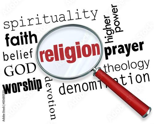 Religion Word Magnifying Glass God Spirituality Faith Belief