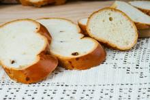 Sliced Raisin Bread On A Tablecloth