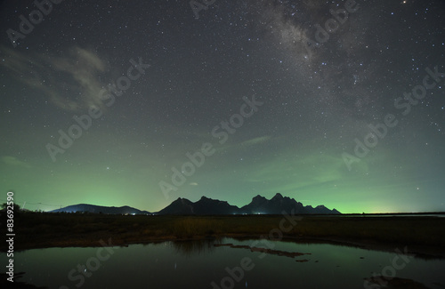 Foto op Canvas Nacht night sky stars with milky way on mountain background