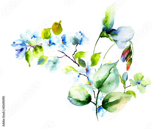Fototapety, obrazy: Stylized spring flowers