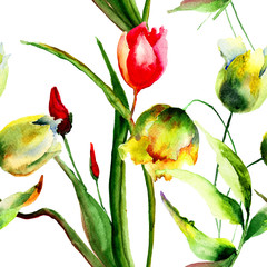 Panel Szklany Tulipany Seamless wallpaper with Tulips flowers