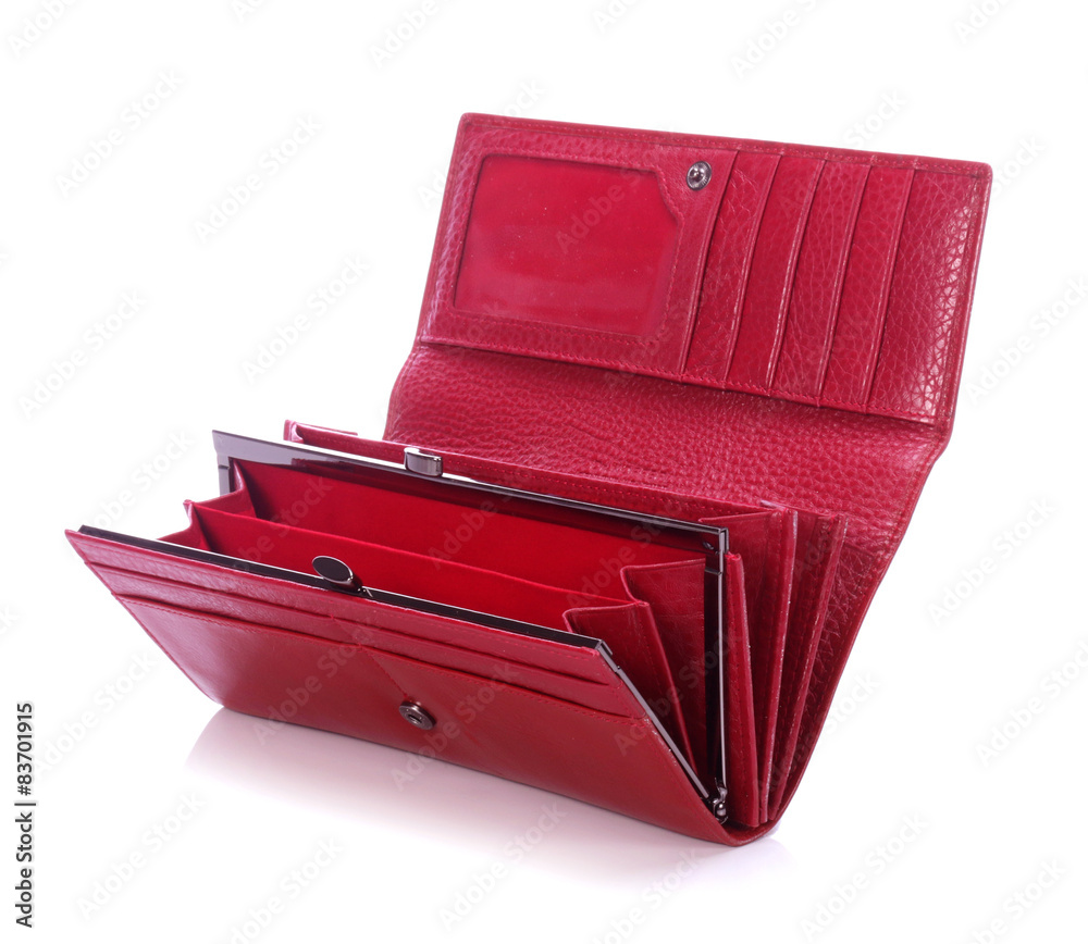 Fototapeta Women's red leather wallet on a white background  - obraz na płótnie