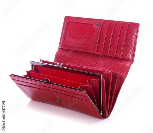 Fototapeta Women's red leather wallet on a white background  obraz na płótnie