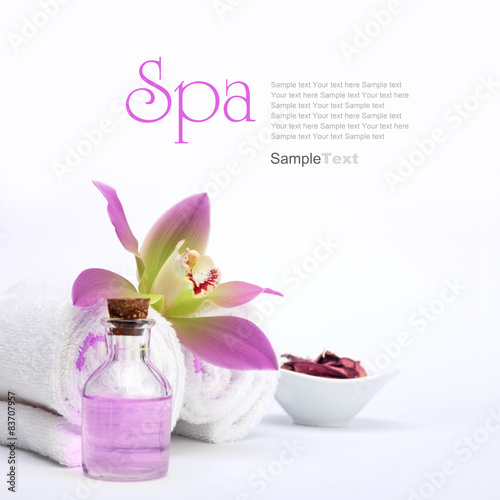 Keuken foto achterwand Spa Spa concept. Pink orchid, oil, potpourri and white towels.