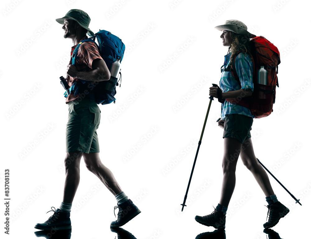 Fototapety, obrazy: couple trekker trekking walking nature silhouette