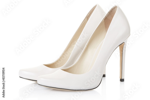 Stampa su Tela High heel white shoes pair on white, clipping path
