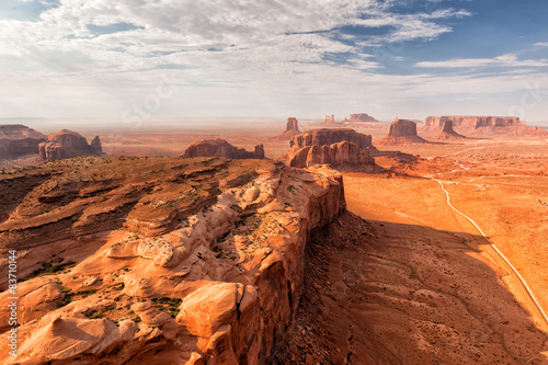 Spoed Foto op Canvas Oranje eclat Monument Valley landscape aerial sky view