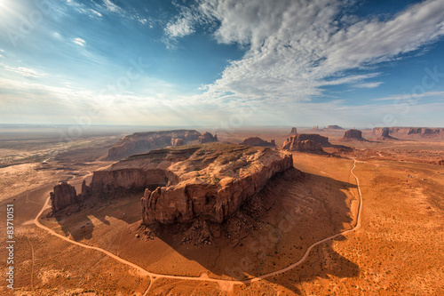 Poster Oranje eclat Monument Valley landscape aerial sky view