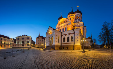 Panorama of Alexander Nevsky Cathedral in the Evening, Tallinn,