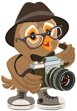Owl Hipster In Hat And Sunglasses Holding Retro Camera