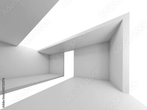 Empty futuristic interior, white background, 3d Wallpaper Mural