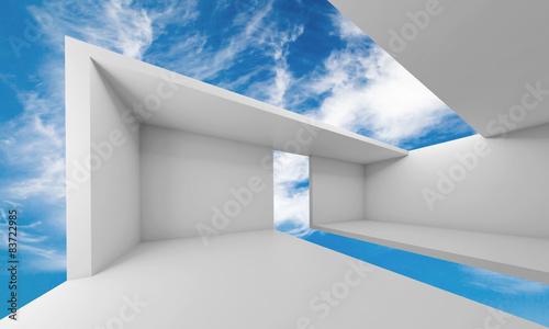 3d-oprozniaja-bialego-futurystycznego-wnetrze-i-niebieskie-niebo