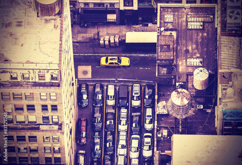 Foto op Plexiglas New York TAXI Vintage aerial picture of New York City, USA.