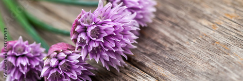 Blooming Chives On Wood - 83739530