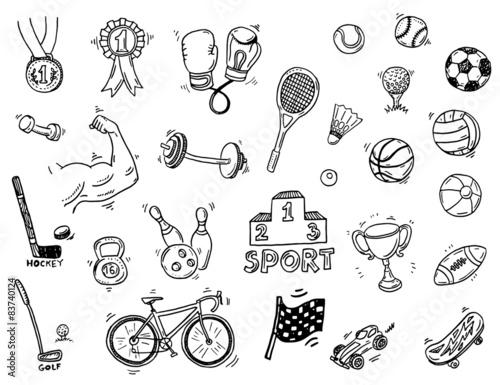 Hand drawn sport doodle set