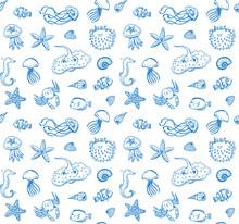 Hand Drawn Doodle Seamless Pattern Of Sea Life Elements.