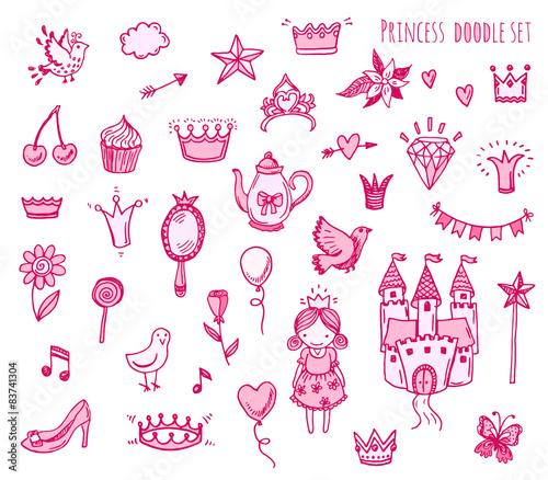 Fotografie, Obraz  Hand drawn vector illustration set of princess sign and symbol doodles elements