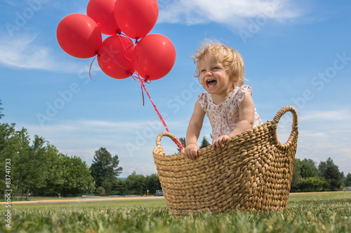 Photo  Baby Girl in a Basket with Red Balloons