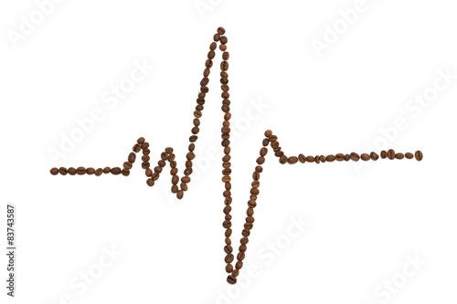 Papiers peints Café en grains Cardiogram line made from coffee beans on white background