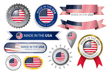 Made In USA Seal, American Flag (Vector Art)