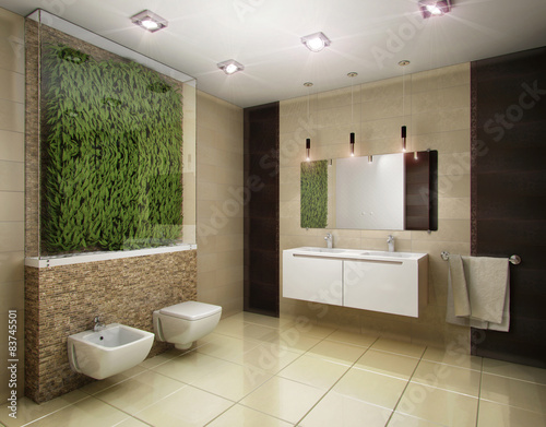 Fototapety, obrazy: 3D illustration of the bathroom in brown tones