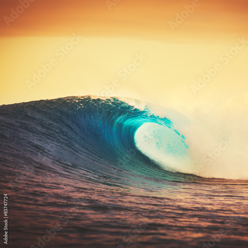 Door stickers Water Sunset Wave