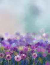 Oil Painting Purple Onion Flower