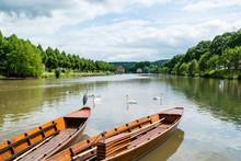 Traditional Punt Boats In Tubingen Aka Tuebingen, Germany