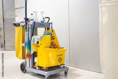 Fotografia, Obraz Yellow mop bucket and set of cleaning equipment