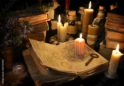 Fotografie, Obraz  Halloween still life with candles and magic objects