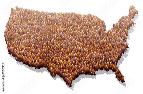 États-Unis - Population Canvas-taulu