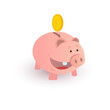 colorful piggy bank on white background