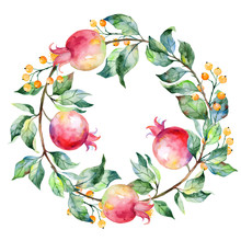 Vector Round Frame Of Watercolor Pomegranate And Berries.