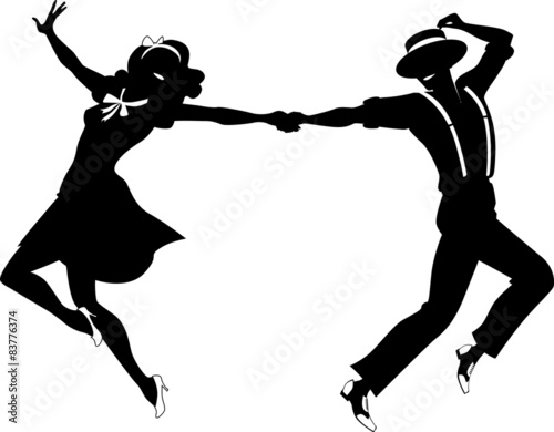 Silhouette of a couple dancing - 83776374